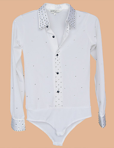Latin Dance Tops Men's Performance Training Spandex Buttons Crystals/Rhinestones 1 Piece Long Sleeve Top