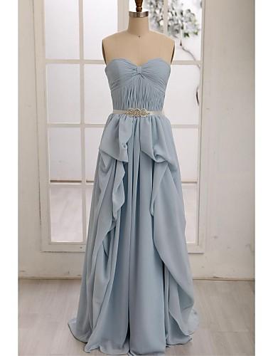 A-Line Sweetheart Floor Length Chiffon Bridesmaid Dress with Draping Sash / Ribbon by LAN TING BRIDE®