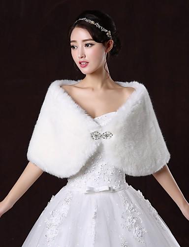 Wedding  Wraps / Fur Wraps Shrugs Sleeveless Faux Fur White / Ruby Wedding / Party/Evening Bateau Button Clasp