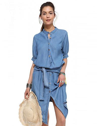 Mulheres Algodão Ganga Vestido Sólido Colarinho Chinês Altura dos Joelhos Azul / Verão