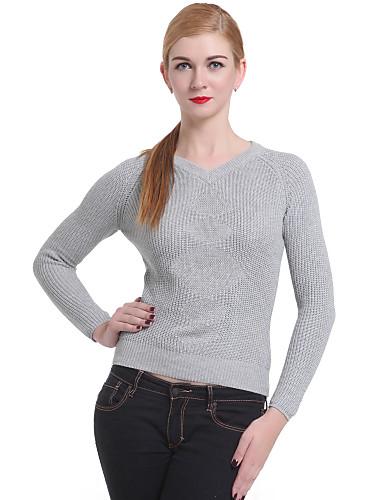 casual / travail à manches longues pull-overs, moyen de tricots pour femmes
