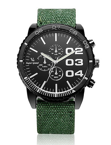 V6 Men's Quartz Wrist Watch Casual Watch Fabric Band Charm Black Blue Red Green