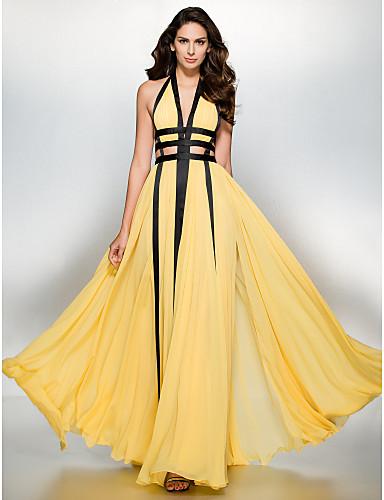 Γραμμή Α Βυθίζοντας το λαιμό Μακρύ Σιφόν Χοροεσπερίδα Επίσημο Βραδινό Φόρεμα με Με Άνοιγμα Μπροστά με TS Couture®