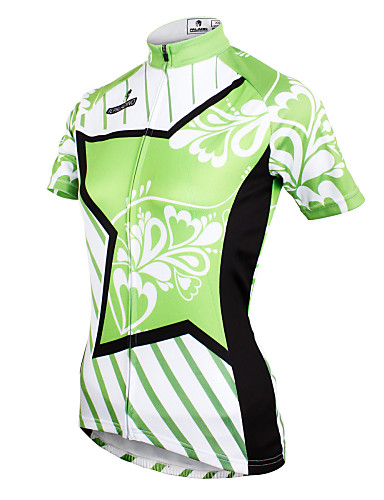 ILPALADINO Women s Short Sleeve Cycling Jersey - Green Floral   Botanical  Bike Jersey Top Breathable Quick Dry Ultraviolet Resistant Sports Polyester  100% ... 773d1870d