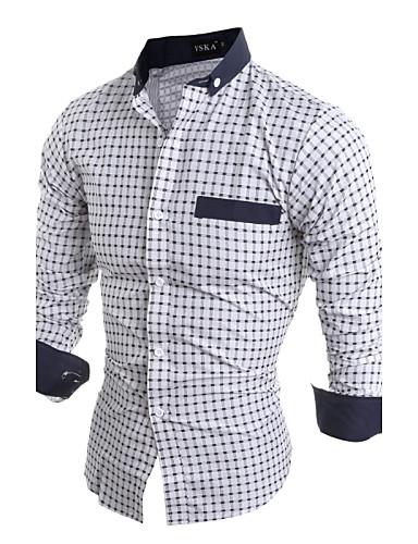 Homens Camisa Social Temática Asiática Sólido Algodão Colarinho Clássico
