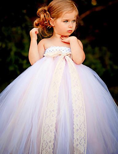 kugle kjole ankel længde blomst pige kjole - polyester tulle ærmerøs stropløs med blomst ved ydn