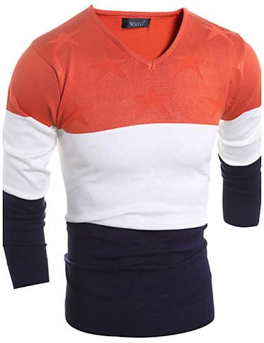 Langærmet Stribet / Patchwork Mænds Fritid / Plusstørrelse Pullover Uld / Bomuld Orange / Rød / Gul