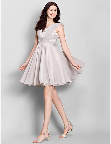 Γραμμή Α Μέχρι το γόνατο Σιφόν Φόρεμα Παρανύμφων με Χιαστί με LAN TING BRIDE®