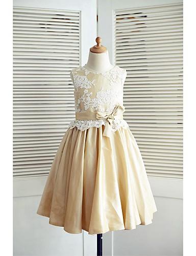 A-Şekilli Diz Boyu Dantelalar Tafta Fiyonk Kurdeleler ile Çiçekçi Kız Elbisesi tarafından LAN TING BRIDE®