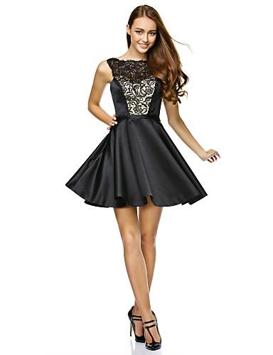 A-Line / Fit & Flare Illusion Neck Short / Mini Lace / Satin Cocktail Party / Prom / Company Party Dress with Lace by TS Couture® / Little Black Dress