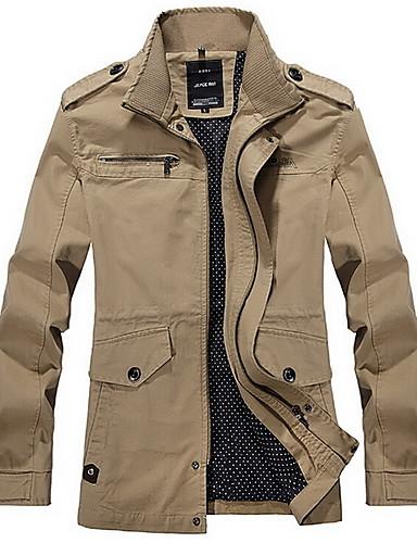 Men's Long Sleeve Regular Trench Coat , Polyester Plaids & Checks Winter Jacket