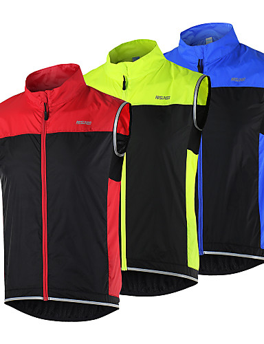 cheap Cycling Vest-Arsuxeo Men's Cycling Vest Bike Vest / Gilet Jacket Windbreaker Windproof Breathable Quick Dry Sports Black / Red / Black / Green / Black / Blue Mountain Bike MTB Road Bike Cycling Clothing Apparel