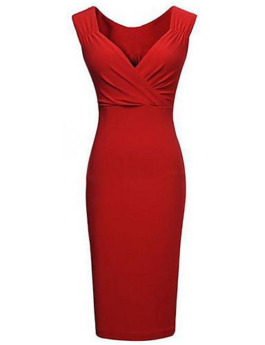 abordables Robes Femme-Femme Grandes Tailles Soirée Mi-long Moulante Robe Couleur Pleine V Profond Noir Rouge XL XXL XXXL Sans Manches / Mince