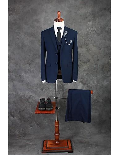 billige Bryllupsfestkjoler-Blæk Blå Ensfarget Skreddersydd Bomullsblanding Dress - Med hakk Enkelt Brystet To-knapp / drakter
