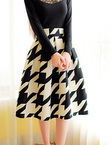 Γυναικεία Γραμμή Α Κομψό στυλ street Φούστες - Τετράγωνο Καρό