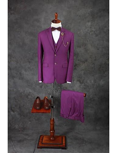 abordables Smokings & Costumes-Couleur Pleine Coupe Sur-Mesure Mélange de Coton Costume - Cranté Droit 2 boutons / costumes