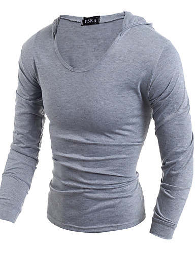 Men's Sports Cotton T-shirt - Solid Hooded