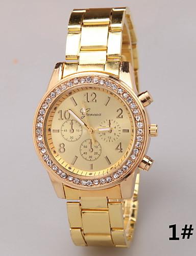 Kadın's Sahte Elmas Saat Moda Saat Quartz imitasyon Pırlanta Alaşım Bant İhtişam Gümüş Altın Rengi Gül Altın