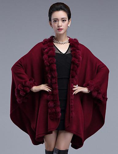 Dames Grote maten Vintage Lang Cloak / Capes Effen-Rood Zwart Bruin Paars V-hals Lange mouw Konijnenbont Acryl Winter Medium