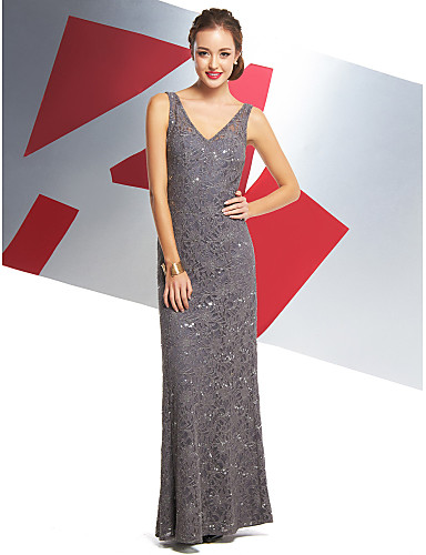 Mermaid / Trumpet V Neck Ankle Length All Over Lace Prom / Formal Evening Dress with Lace by TS Couture®