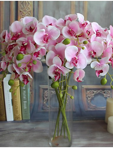 cheap Room-5pcs Real-touch Artificial Flowers Orchids Home Decor Wedding Party Gift
