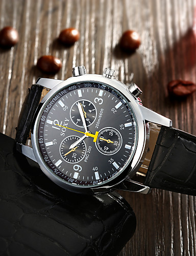 גברים שעון יד קווארץ שעונים יום יומיים עור להקה שחור לבן שחור