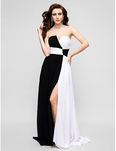 A-Şekilli Straplez Süpürge / Fırça Kuyruk Şifon Haç ile Balo Resmi Akşam Elbise tarafından TS Couture®