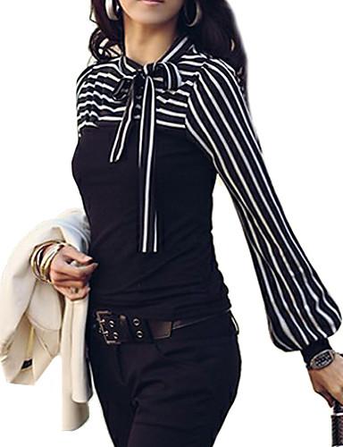 baratos Blusas Femininas-Mulheres Tamanhos Grandes Blusa Básico Luva Lantern Laço, Listrado Colarinho Chinês Verde / Belas Stripe
