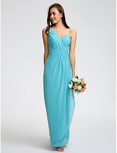 Sheath / Column One Shoulder Ankle Length Georgette Bridesmaid Dress with Criss Cross by LAN TING BRIDE®