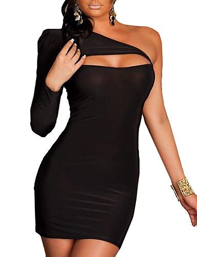 Жен. Большие размеры Облегающий силуэт Платье - Однотонный, С отверстиями На одно плечо Мини