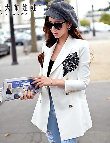Mulheres Blazer Primavera,Jacquard Branco Poliéster / Elastano Decote em V Profundo Manga Longa Média
