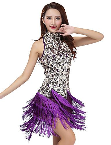 7b077512ae09e Latin Dance Dresses Women's Performance Polyester / Sequined Tassel Dress /  Samba