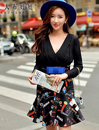 여성의 주름장식 드레스 딥 V 긴 소매 무릎 위 폴리에스테르 / 스판덱스