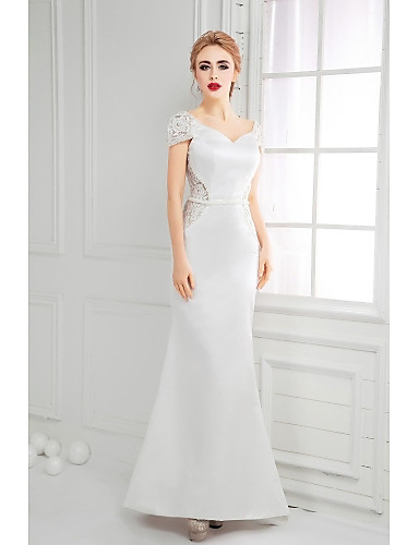 A-Line V-neck Floor Length Lace Satin Formal Evening Dress with Lace Pearl Detailing by SGSD