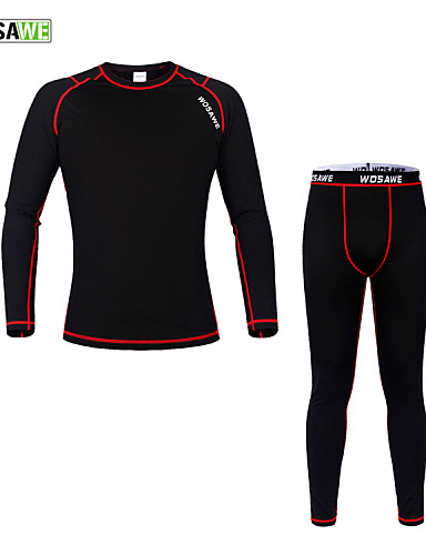 cheap Cycling Clothing-WOSAWE Men's Women's Long Sleeve Cycling Base Layer Black / Red Solid Color Bike Jersey Tights Clothing Suit Thermal / Warm Winter Sports Polyester Fleece Solid Color Mountain Bike MTB Road Bike