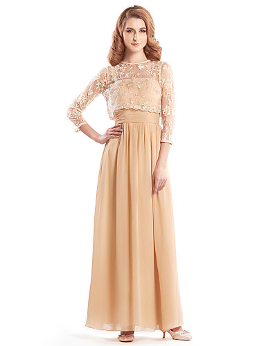 A-Line Jewel Neck Ankle Length Chiffon Lace Mother of the Bride Dress with Lace by LAN TING BRIDE®