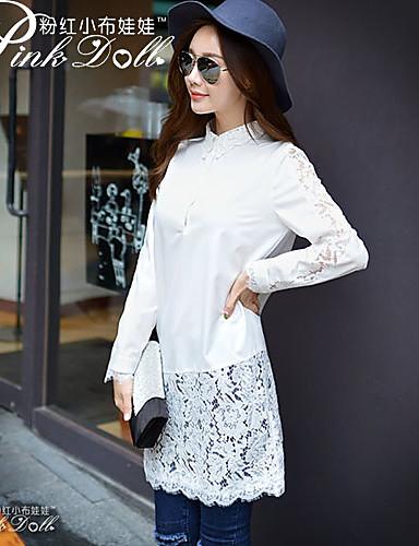 Cotton Shirt - Patchwork Lace Shirt Collar / Spring