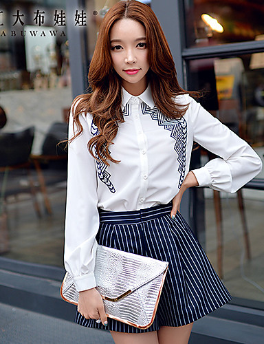 Mulheres Camisa Formal Primavera,Bordado Branco Poliéster / Elastano Colarinho de Camisa Manga Longa Média