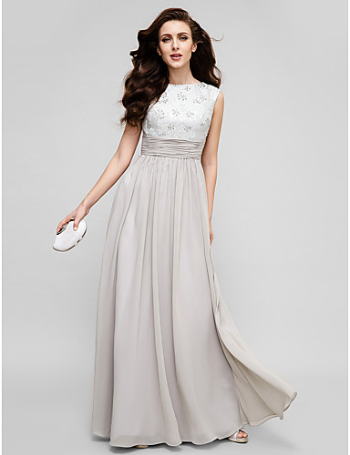 Sheath / Column Mother of the Bride Dress Floor-length Sleeveless Chiffon with Beading by TS Couture®