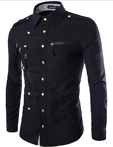אחיד צווארון קלאסי רזה Military חולצה - בגדי ריקוד גברים כותנה
