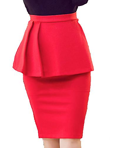 Seksi / Posao Ženski Suknje - Do koljena , Mikroelastično Umjetna svila