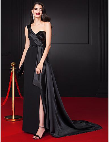 Kroj uz tijelo Na jedno rame Do poda Rastezljivi saten Formalna večer Haljina s Perlica Šljokice Prednji izrez po TS Couture®