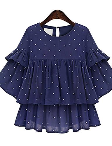 Bluza Ženski,Plus veličine / Vintage / Ulični šik Vjenčanje Na točkice-Kratkih rukava Okrugli izrez-Ljeto Plava NeprozirnoPoliester /