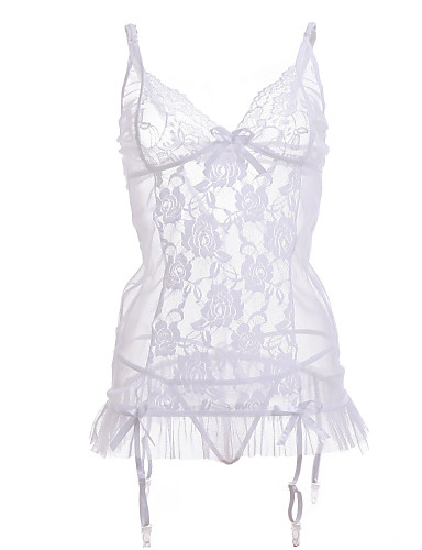 Vrouw Lingerie met kousenband Kanten lingerie Nachtkleding Effen Kant Wit
