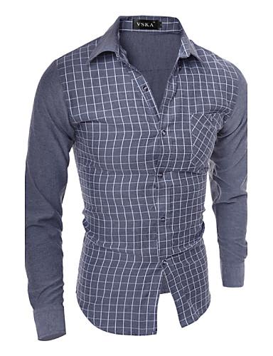 Bomull / Polyester Blå / Grå Medium Langermet,Skjortekrage Skjorte Ensfarget / Fargeblokk Vår / Høst Enkel Fritid/hverdag Herre