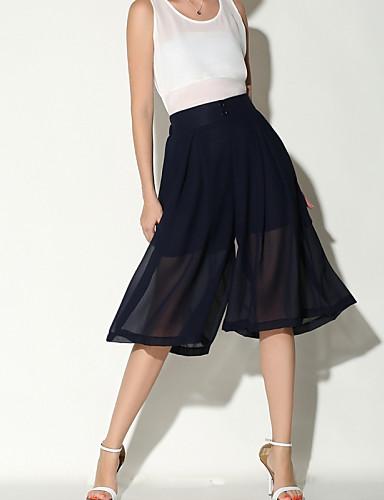 מכנסיים אחיד משוחרר רגל רחבה ג'ינסים גיזרה גבוהה בגדי ריקוד נשים