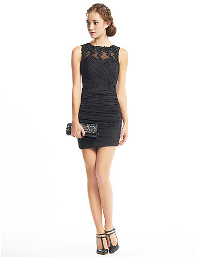 Sheath / Column Illusion Neck Short / Mini Jersey / Beaded Lace Little Black Dress Cocktail Party Dress with Appliques / Criss Cross by TS Couture®
