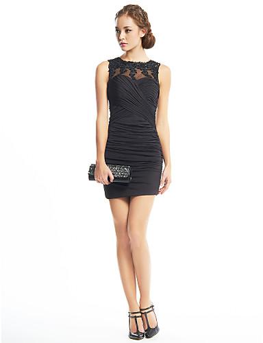 Tube / kolonne Illusjon Hals Kort / mini Jersey / Blonder med perleinnlegg Liten svart kjole Cocktailfest Kjole med Appliqué / Kryssdrapering av TS Couture®