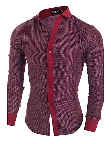 Masculino Camisa Casual / Escritório Xadrez Manga Comprida Algodão / Poliéster Preto / Vermelho