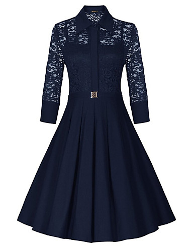 Women's Lace Shirt Collar Lace Stitching Hollow Mid-sleeve Skater Dress